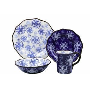 Samana 16-Piece Casual Euro Blue Stoneware Dinnerware Set (Service for 4)