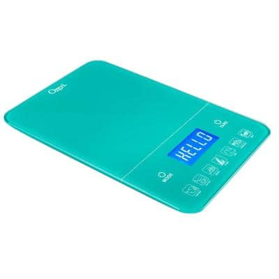 Touch III 22 lbs. (10 kg) Digital Kitchen Scale with Calorie Counter, in Teal Tempered Glass