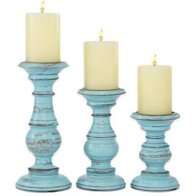 Light Blue Mango Wood Coastal Candle Holder (Set of 3)