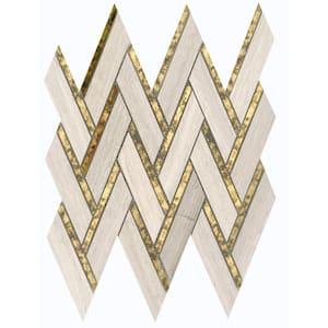 Impulse Cream 13.98 in. x 15.16 in. Chevron Glossy Limestone Mosaic Tile (1.471 sq. ft./Each)