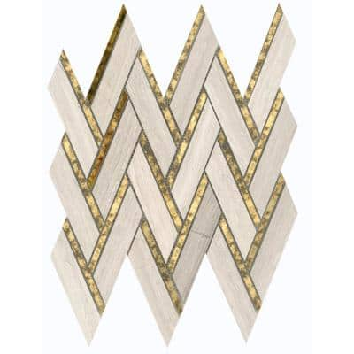 Impulse Cream 13.98 in. x 15.16 in. Chevron Glossy Limestone Mosaic Tile (1.471 sq. ft./Each)