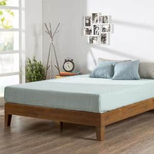 12 in. Alexis Pine with Easy Assembly Queen Deluxe Wood Platform Bed