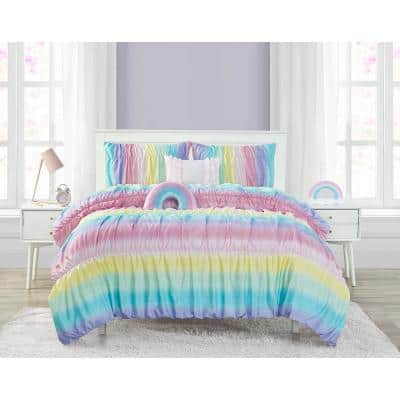 Rainbow Rouched 5-Piece Reversible Comforter Set, Pink, Twin