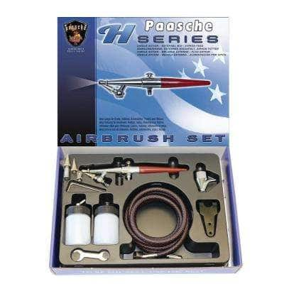 H single action siphon feed airbrush set with all three head sizes, hose, cup and bottles.