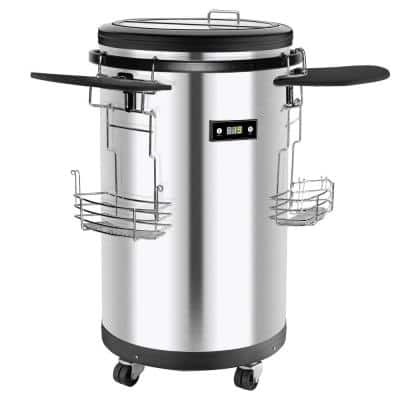 42-Bottle/Can Single Zone Refrigerated Party Cooler in Stainless Steel