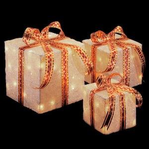 Pre-Lit White Sisal Gift Box Assortment