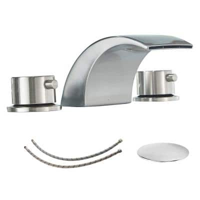 8 in. Widespread 2-Handle Bathroom Faucet With Led Light And Pop Up Drain in Brushed Nickel