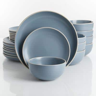 Rockaway 24-Piece Modern Matte Blue Ceramic Dinnerware Set (Service for 8)