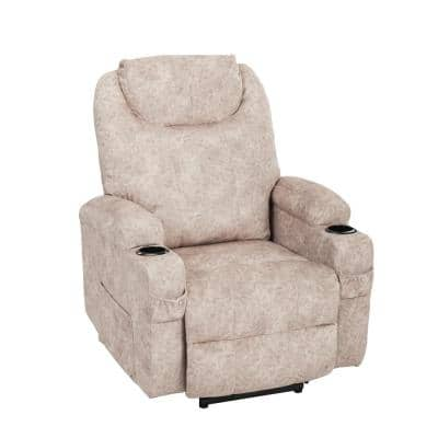 Elderly Overstuffed Velvet Power Lift Recliner Chair with Cup Holders and Wireless Control Massage (Camel)