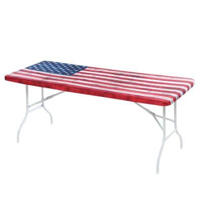 30 in. x 72 in. Cotton Fabric Fitted Table Cover, Red White and Blue Flag