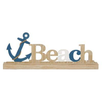 Natural White and Blue Wood Sign and Anchor Beach Table decor 23 in. x 9 in.