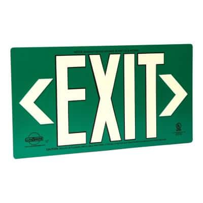 Green Metal Aluminum 50' Visibility 5 fc Rated Energy-Free Photoluminescent UL924 Emergency Exit Sign LED Compliant