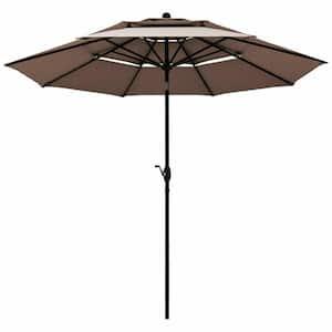 10 ft. Aluminum Market Tilt Patio Umbrella in Tan