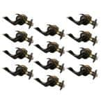 Stratford Oil Rubbed Bronze Passage Hall/Closet Door Lever with Universal 6-Way Latch (12-Pack)