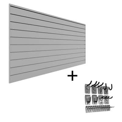 PVC Slatwall 8 ft. x 4 ft. Light Gray Hook Kit Bundle (20-Piece)