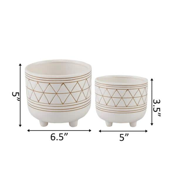Flora Bunda 6 In And 5 In White Gold Ceramic Line Geometric With Legs Mid Century Planter Set Of 2 Ct246e2 Gd The Home Depot