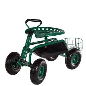 Green Steel Rolling Garden Cart with Steering Handle, Seat and Tray