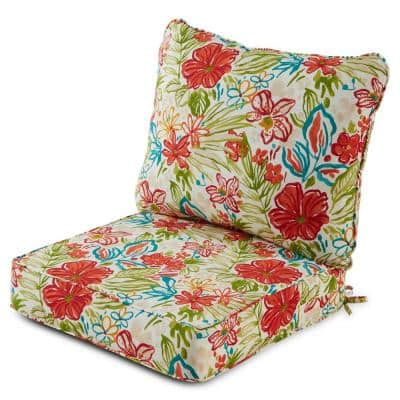 25 in. x 47 in. 2-Piece Deep Seating Outdoor Lounge Chair Cushion Set in Breeze Floral