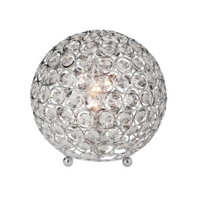 Elegant Designs 8 in. Chrome and Crystal Ball Table Lamp