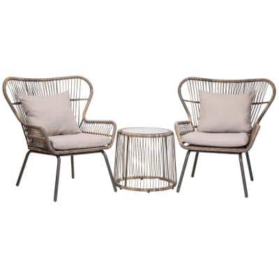 3-Piece Outdoor Bistro Patio Wicker Chair and Table Set with Cushions