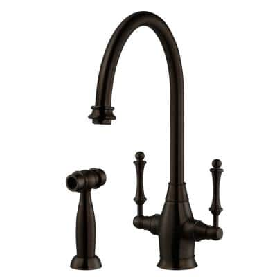 Charleston Traditional 2-Handle Standard Kitchen Faucet with Sidespray and CeraDox Technology in Oil Rubbed Bronze