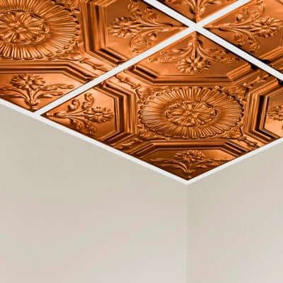Rochester 2 ft. x 2 ft. Lay-In Tin Ceiling Tile in Copper (20 sq. ft./case)