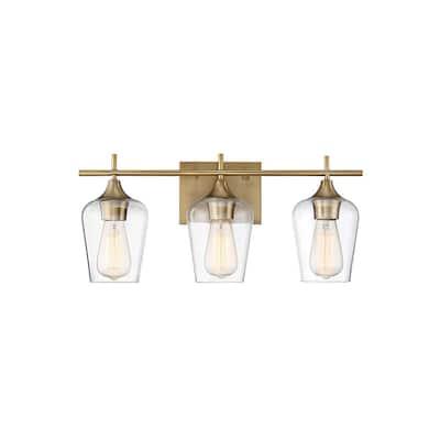 3-Light Warm Brass Bath Light