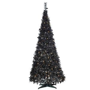 6 ft. Artificial Pop-Up LED Black Tinsel Tree