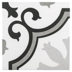 Lacour Grey Encaustic 9-3/4 in. x 9-3/4 in. Porcelain Floor and Wall Tile (11.11 sq. ft. / case)