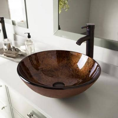 Solid Tempered Glass Round Bathroom Vessel Sink in Brown with Oil Rubbed Bronze Faucet and Chrome Pop-Up Drain