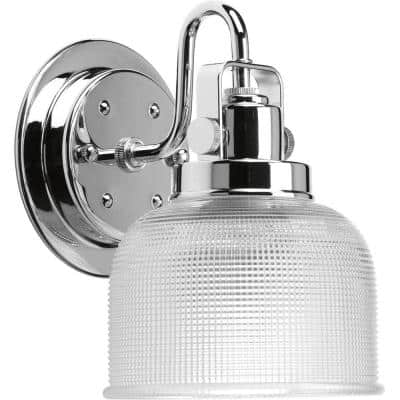Archie Collection 1-Light Polished Chrome Clear Double Prismatic Glass Coastal Bath Vanity Light