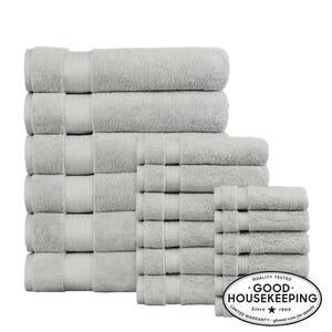 Egyptian Cotton 18-Piece Bath Sheet Towel Set in Shadow Gray