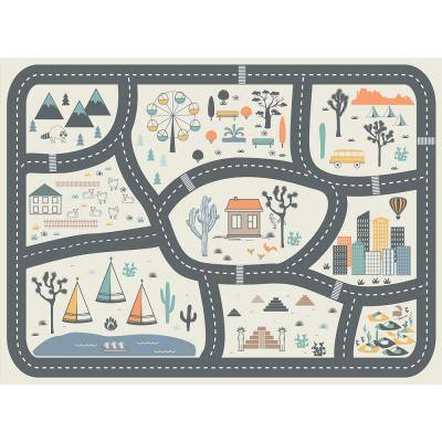 Decorative Grey Map Laminated Placemat 14 in x 19 in