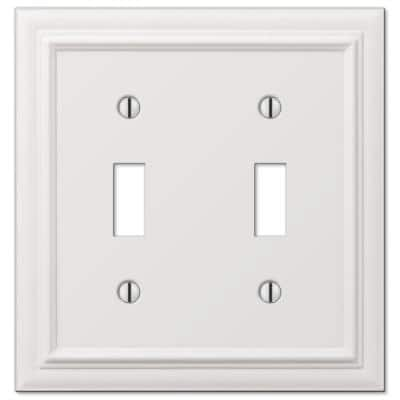 Continental 2 Gang Toggle Metal Wall Plate - White
