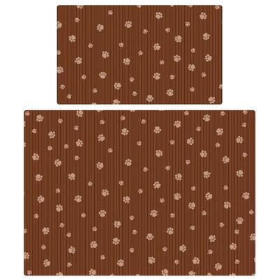 Brown Stripe Tan Paw Multi-Use Pet Mat (Set of 2)