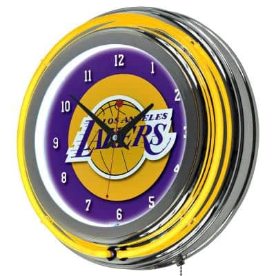 14 in. Los Angeles Lakers NBA Chrome Double Ring Neon Wall Clock