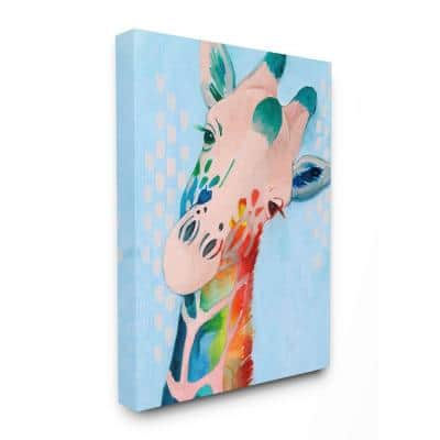 """24 in. x 30 in. """"Colorful Abstract Giraffe Rainbow Blue Drawing"""" by Grace Popp Canvas Wall Art"""
