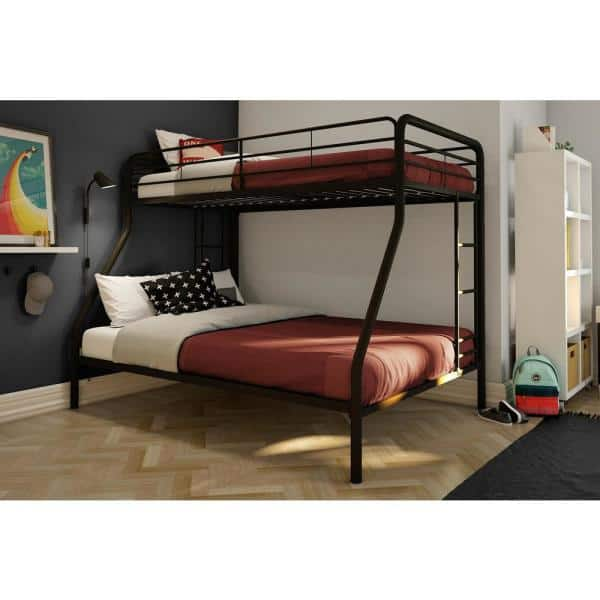 Dhp Cindy Black Twin Over Full Metal Bunk Bed De94194 The Home Depot