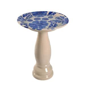 Brandy Blue and Cream Glazed Ceramic Pedestal Birdbath