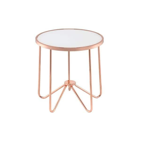 Venetian Worldwide Alivia Rose Gold And Frosted Glass End Table Va 81837 The Home Depot