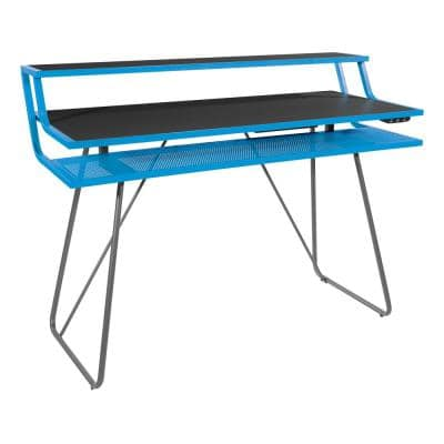 Glitch 47 in. Rectangular Blue Computer Gaming Desk with Bluetooth LED Lights