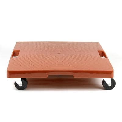 16 in. x 16 in. x 4 in. Terra Cotta HDPE Square Plant Dolly/Caddy with Handle