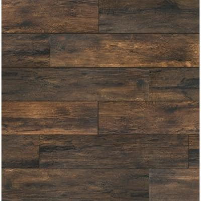 Smoked Hickory 8 in. x 36 in. Porcelain Floor and Wall Tile (122.4 sq. ft./Pack)