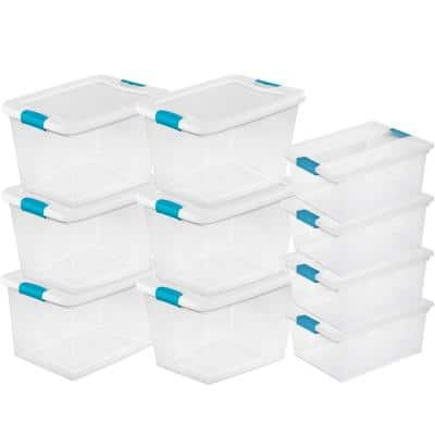 64-Qt. Latching Storage Tote Box (6 Pack) + Deep Clip Box (4 Pack)