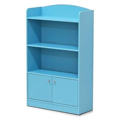 KidKanac 38.58 in. Light Blue Faux Wood 4-shelf Standard Bookcase with Doors