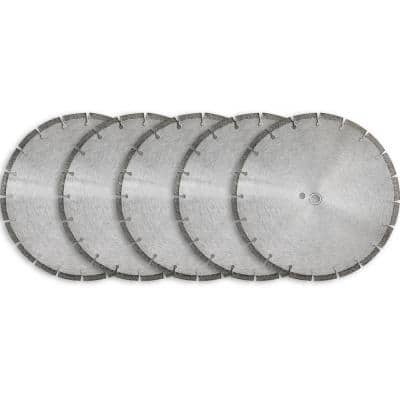 14 in. Sintered 10 mm Wet/Dry General Purpose Concrete Diamond Saw Blade (5-Pack)