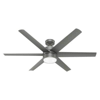 Solaria 60 in. Integrated LED Indoor/Outdoor Matte Silver Ceiling Fan with Light Kit and Wall Control