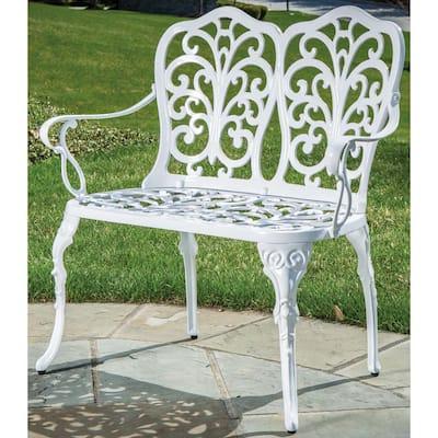 Celine White 21.75 in. Cast Aluminum Outdoor Bench