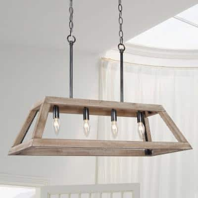 Modern Farmhouse Chandelier 6-Light Black Wood Island Dining Room Cage Candlestick Chandelier Pendant Light