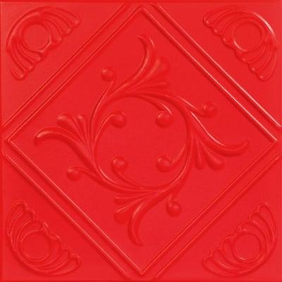 Diamond Wreath 1.6 ft. x 1.6 ft. Glue Up Foam Ceiling Tile in Red